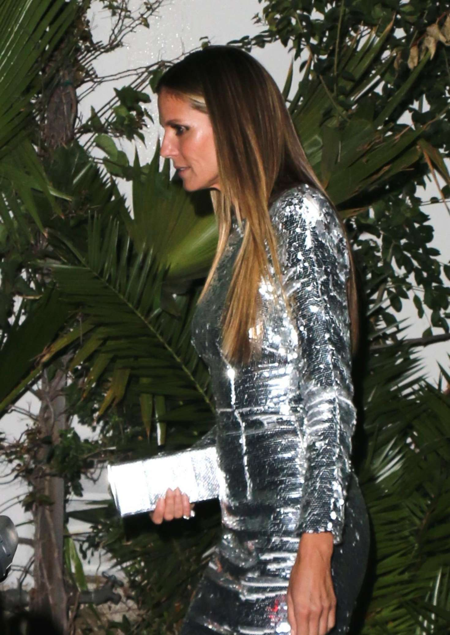 Heidi Klum In Silver Dress Leaves Chateau Marmont In Los