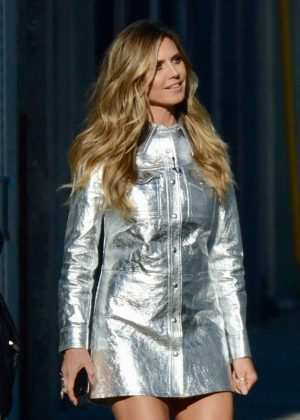 Heidi Klum in Silver Mini Dress - Out in Los Angeles