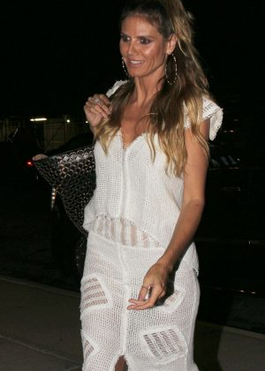 Heidi Klum in White Dress out in New York