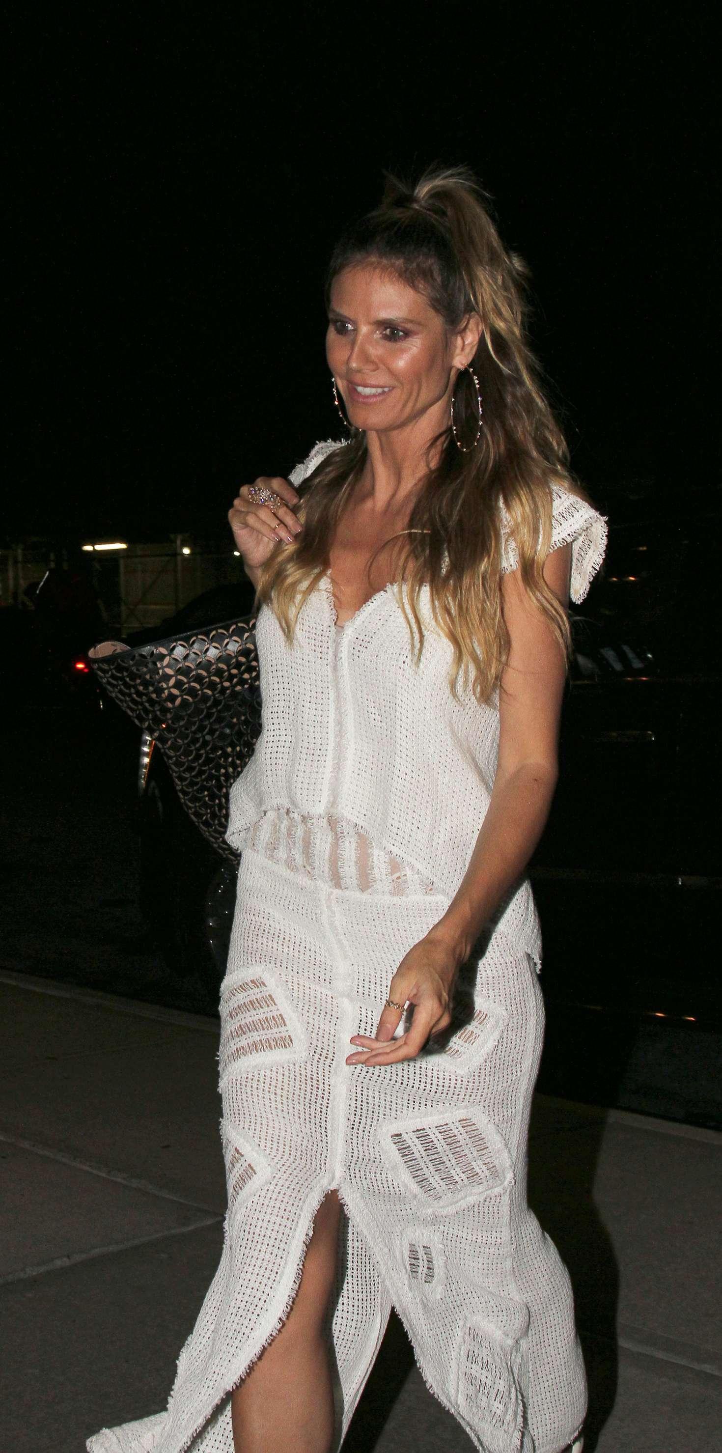 Heidi Klum in White Dress out in New York