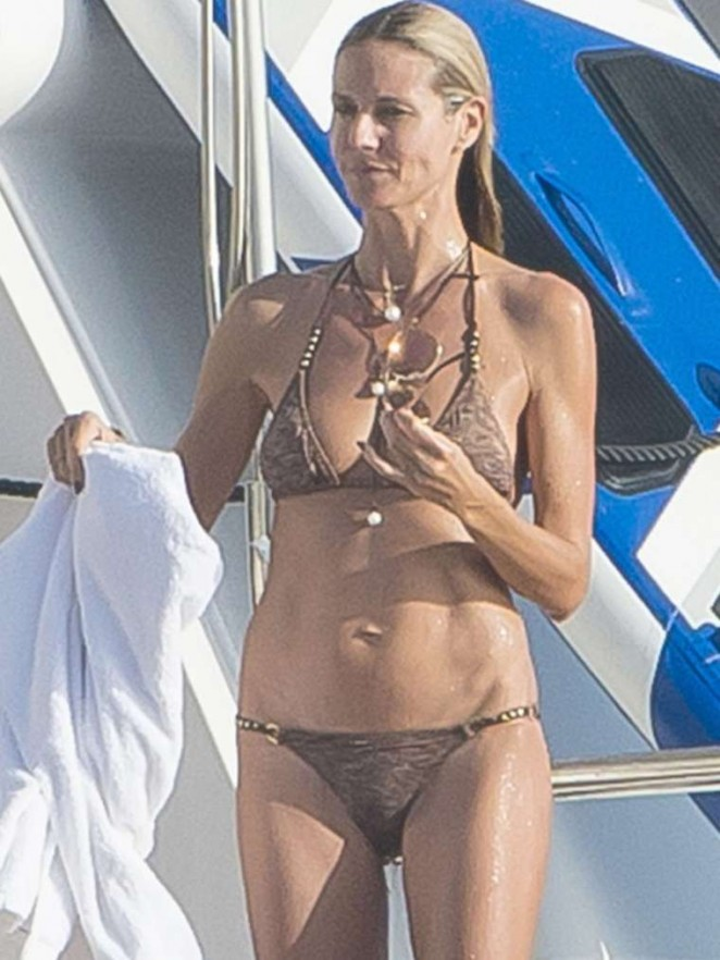 Heidi Klum in Bikini on the Yacht in St. Barts