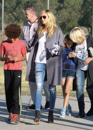 Heidi Klum With Her Kids at A Kids Football Match in LA
