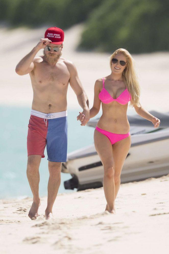 Heidi Montag in Pink Bikini jet skiing in Nassau