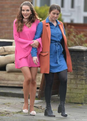 Helen Flanagan and Brooke Vincent - Filming 'Coronation Street' in Manchester