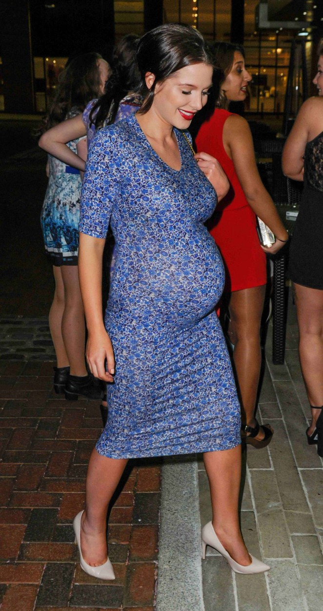 Helen Flanagan in Tight Blue Dress out in Manchester