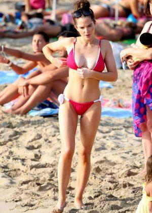 Helen Flanagan in Red Bikini at a beach in Ibiza