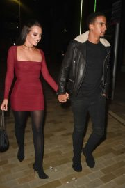 Helen Flanagan in Red Mini Dress - Arrives at Menagerie Restaurant in Manchester