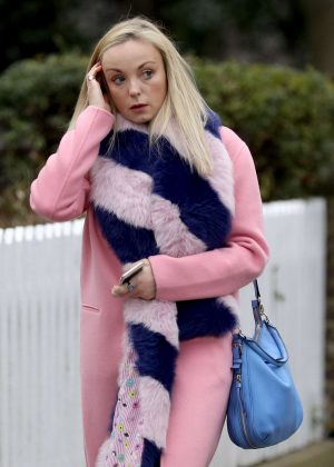 Helen George in Pink Coat out in London