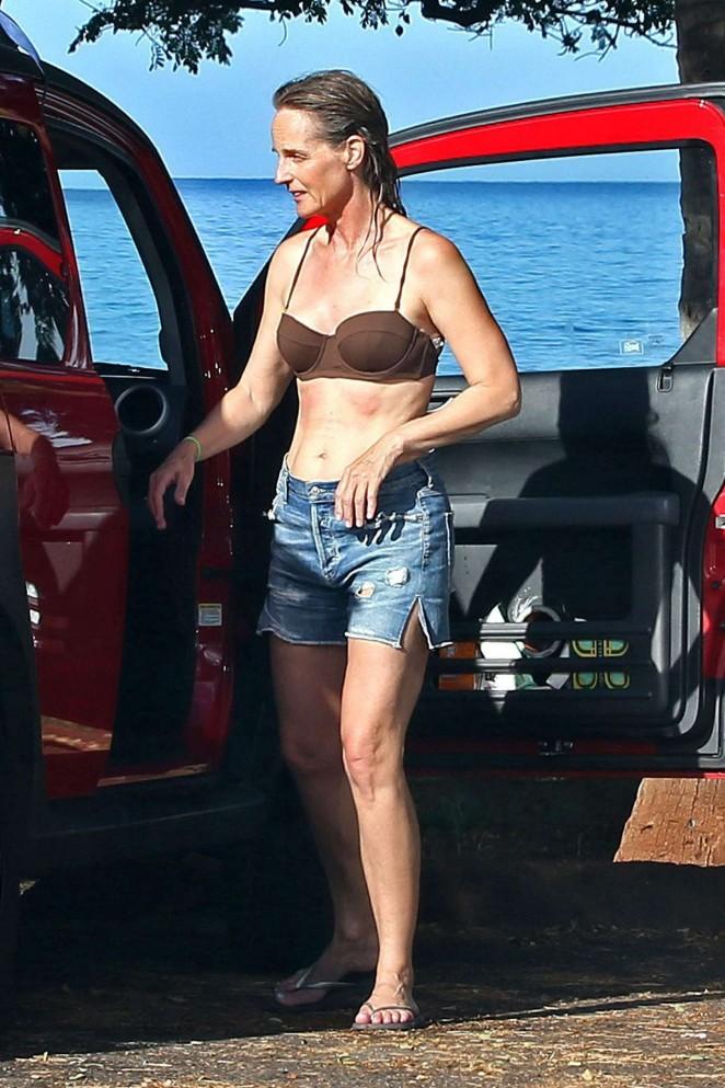 Helen Hunt in Bikini Top in Hawaii