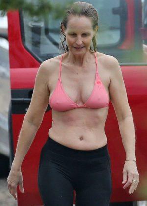 Helen Hunt in Bikini Top on the beach in Hawaii