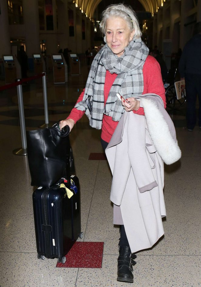 Helen Mirren – Arriving at LAX Airport in Los Angeles