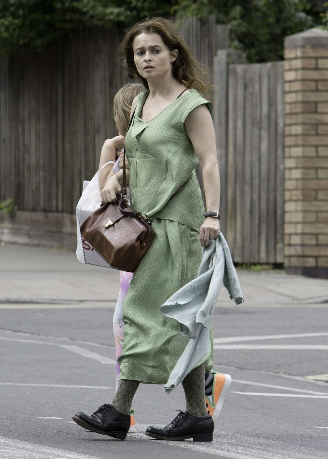 Helena Bonham Carter in Long Dress out in North London