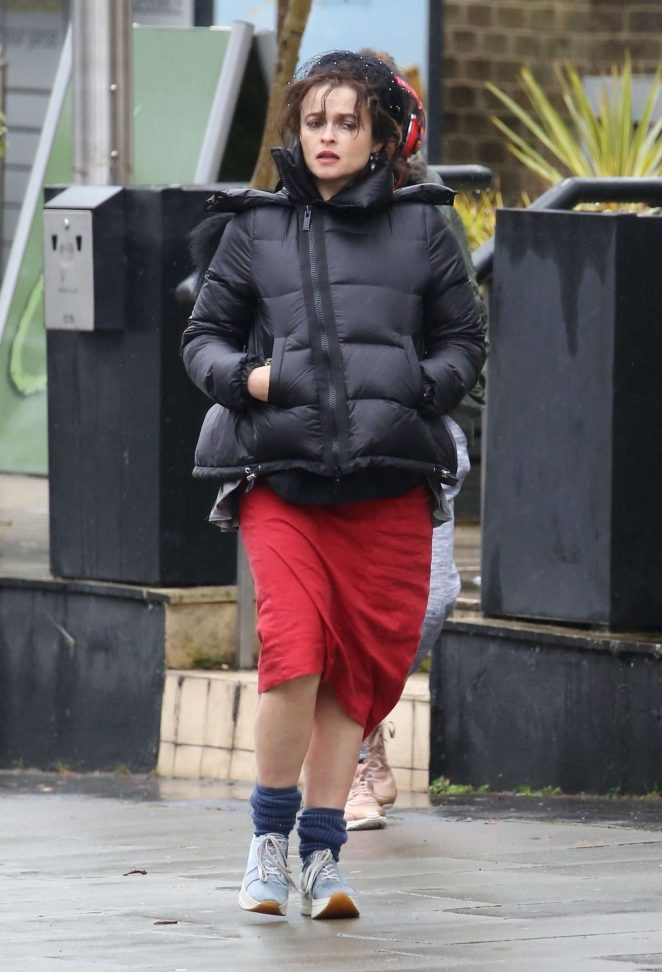 Helena Bonham Carter in Red Dress out in Hampstead