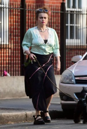 Helena Bonham Carter - Out walking her dog in London
