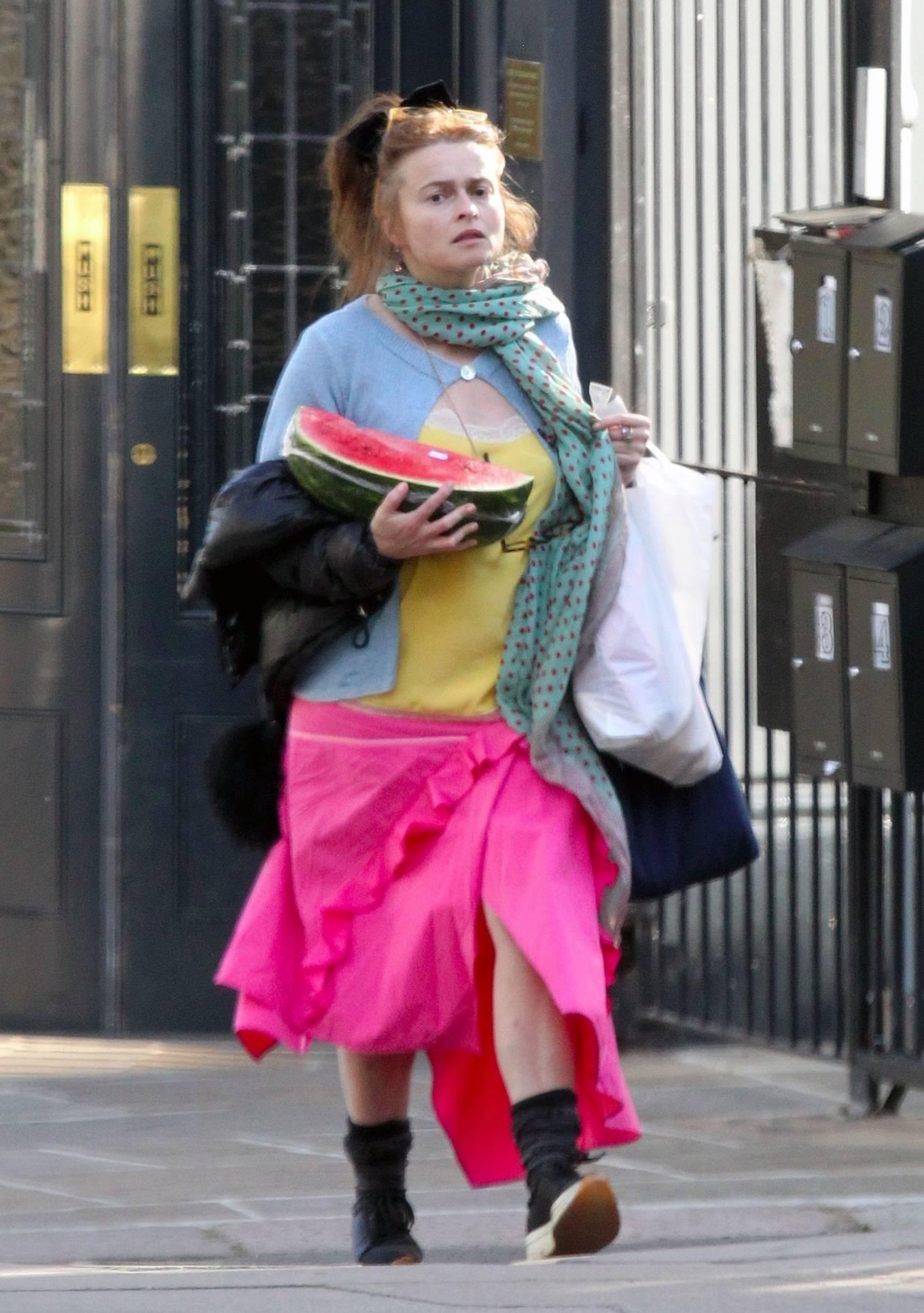 Helena Bonham Carter - Seen picking up a huge watermelon on her way home in London
