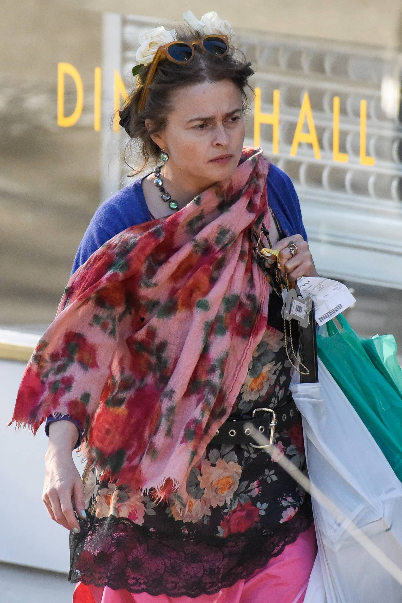 Helena Bonham Carter - Spotted at local shop in Hampstead