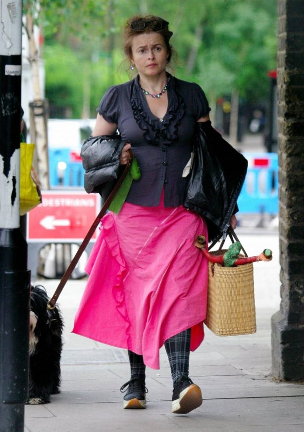 Helena Bonham Carter - Walk with her pet pooch in North London