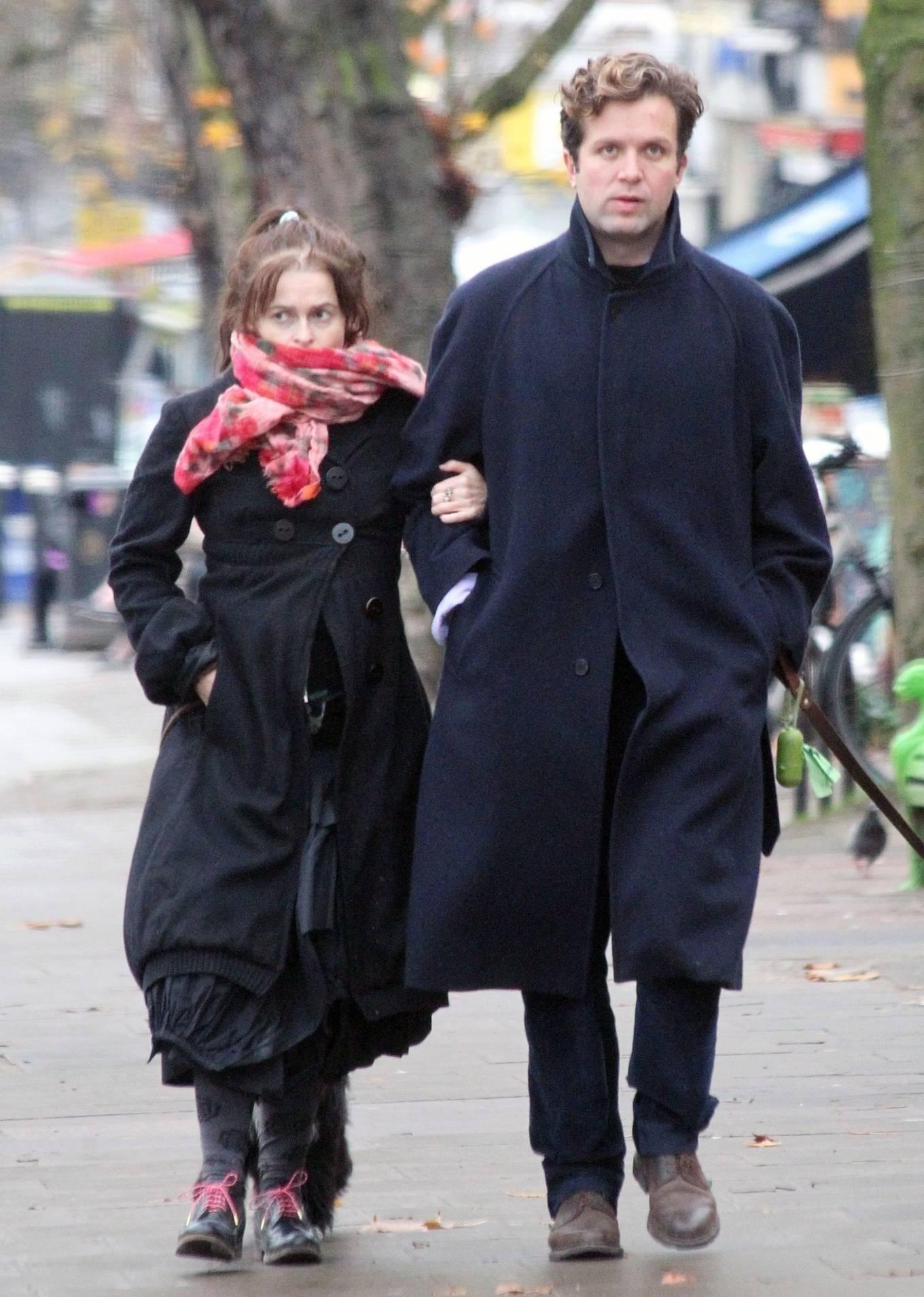 Helena Bonham Carter - With her boyfriend Rye Dag Holmboe in North London