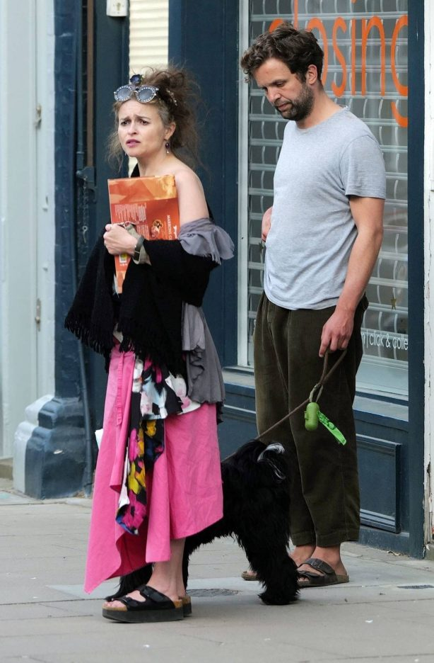 Helena Bonham Carter with her boyfriend walking her dog in North London