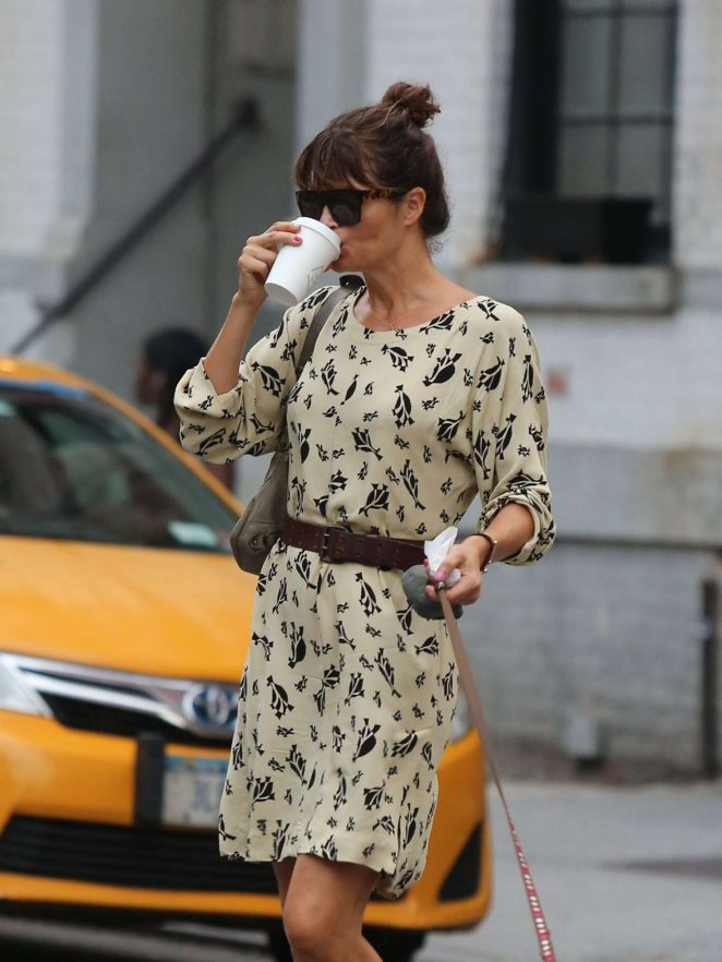 Helena Christensen at Shoe Repair Store in the West Village