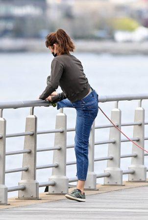 Helena Christensen - doing some Yoga in the Hudson River Park West in New York