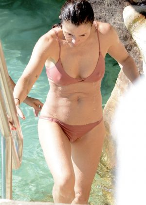 Helena Christensen in Bikini on the pool in Sydney