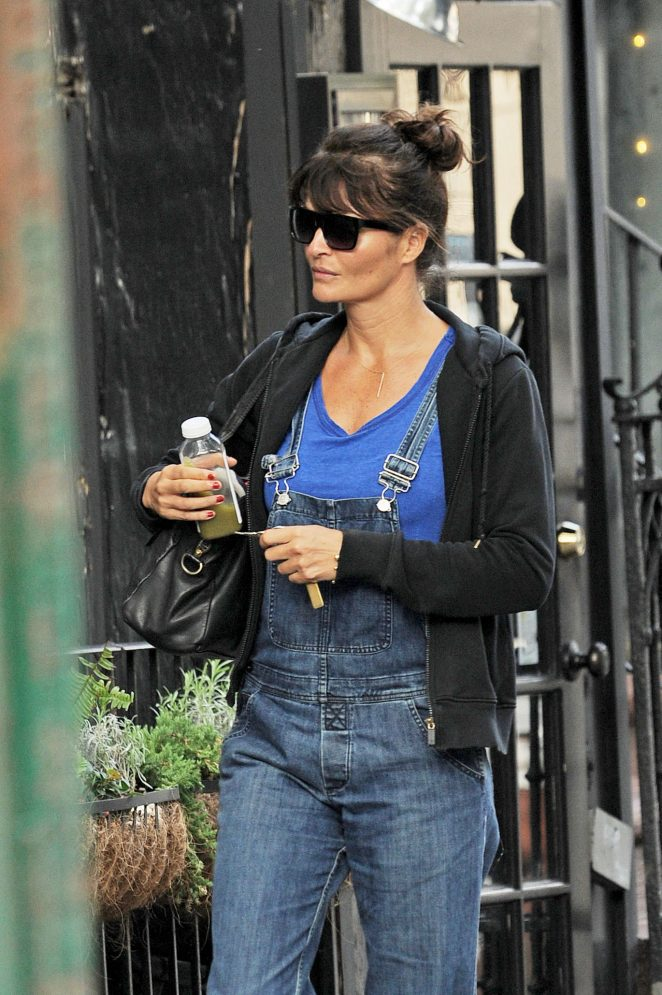 Helena Christensen in Jeans out in the West Village