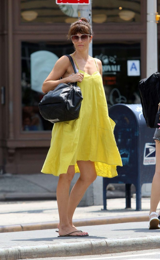 Helena Christensen in Yellow Dress - Out in New York