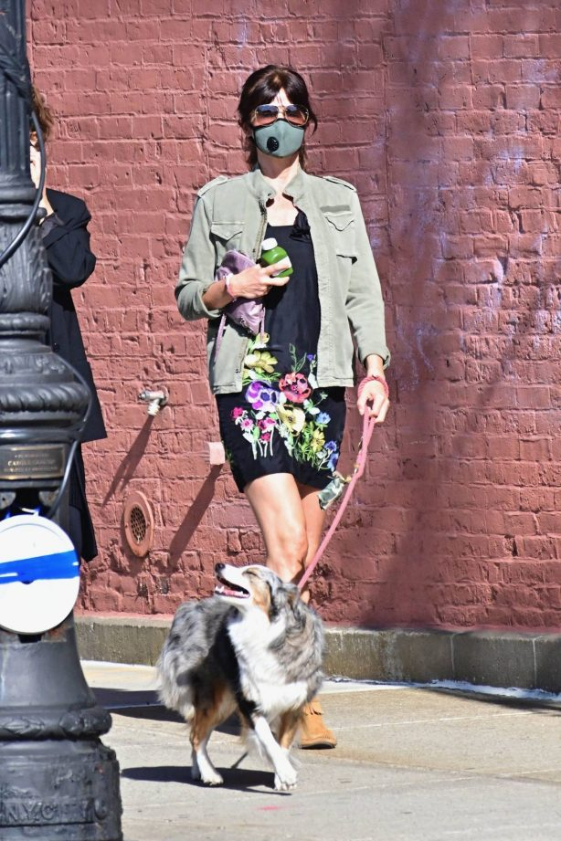Helena Christensen - Out for a dog walk in New York City