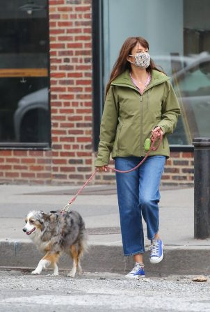 Helena Christensen - Out for a stroll in the West Village with her dog