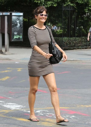 Helena Christensen in Mini Dress out in the West Village