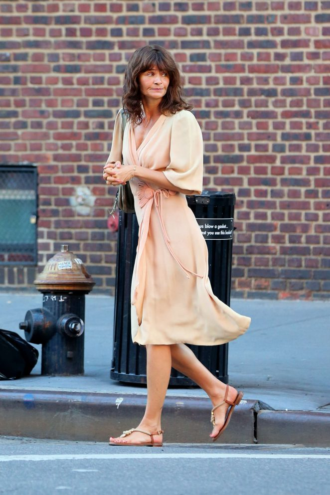 Helena Christensen out in West Village