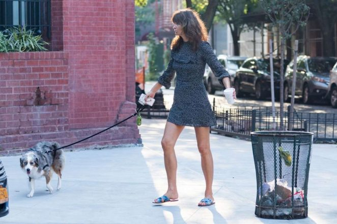 Helena Christensen - Seen With Her Dog in New York
