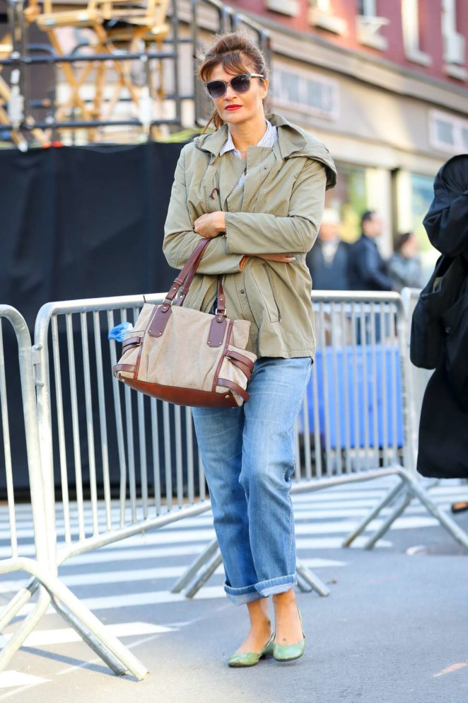 Helena Christensen walking around in New York City