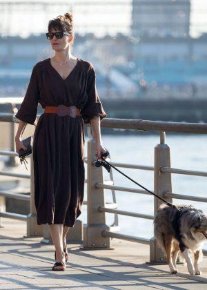 Helena Christensen - Walking her dog in New York