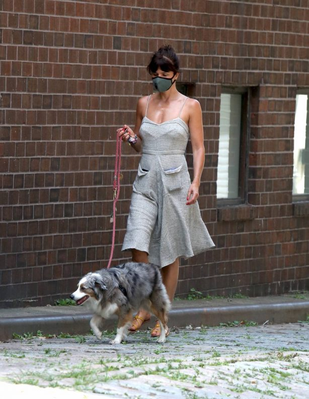 Helena Christensen - Walking her dog in NYC