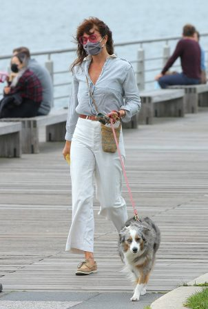 Helena Christensen - Walks her dog Kuma in New York