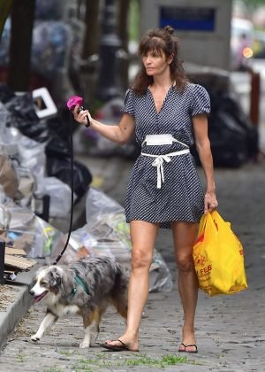 Helena Christensen - With Her Dog out in New York
