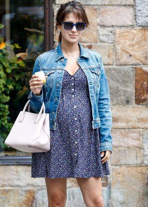 Hilaria Baldwin in Mini Dress out in New York