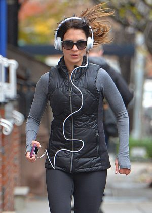 Hilaria Baldwin in Tights jogging in New York City