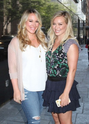 Hilary and Haylie Duff - Leaving Good Day New York in NY
