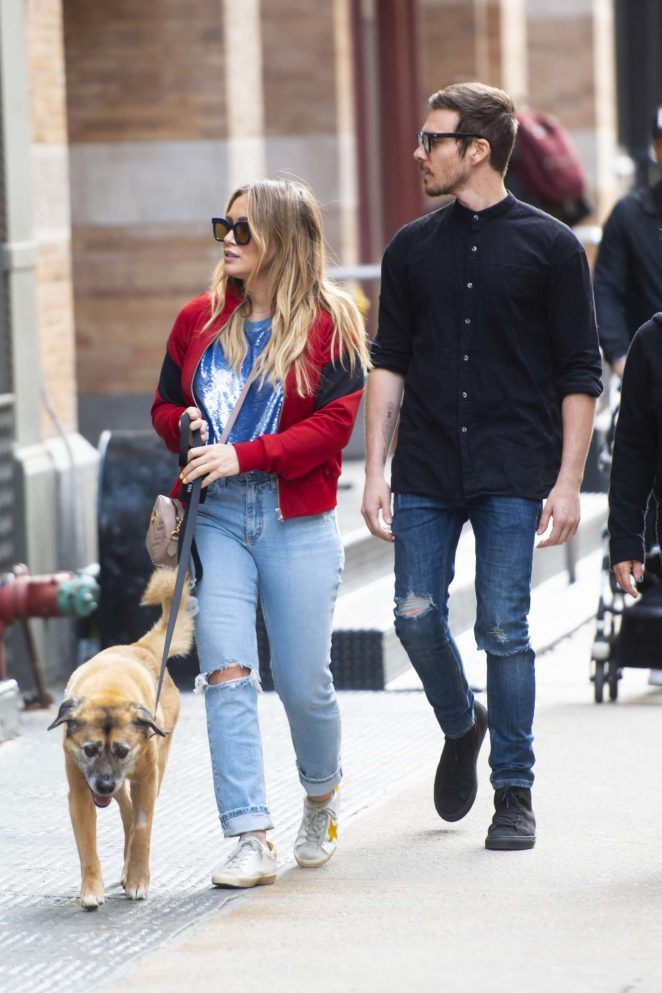 Hilary Duff and Matthew Koma Walking their dog in SoHo