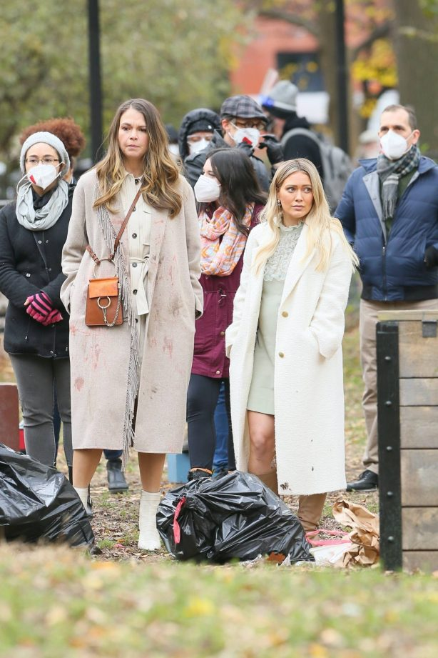 Hilary Duff and Sutton Foster - on the set of 'Younger' in NYC