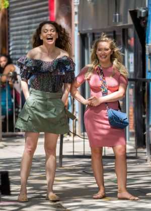 Hilary Duff and Sutton Foster on 'Younger' set in New York