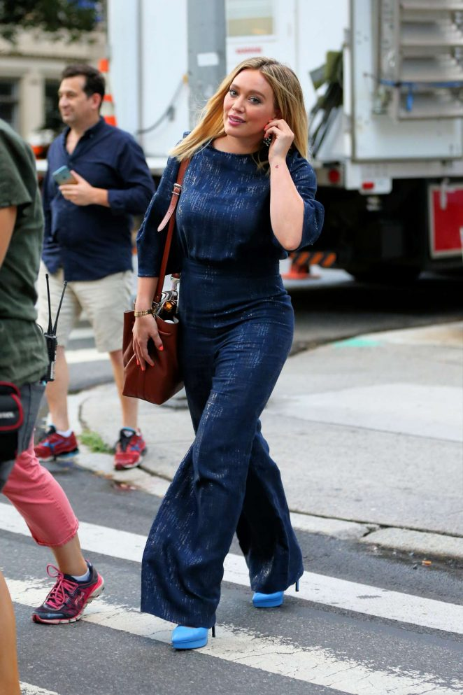 Hilary Duff - Arriving on 'Younger' set in New York City