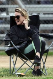 Hilary Duff at a soccer game in Los Angeles