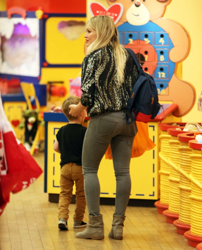 Hilary Duff at Build-A-Bear Workshop with her son in LA