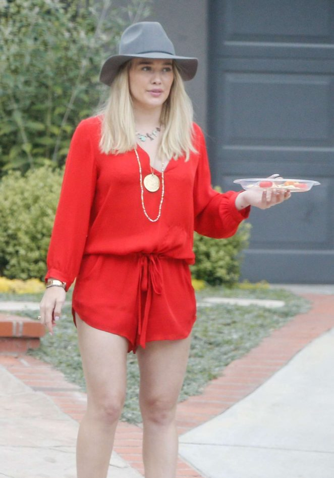 Hilary Duff in Short Red Jumpsuit out in LA