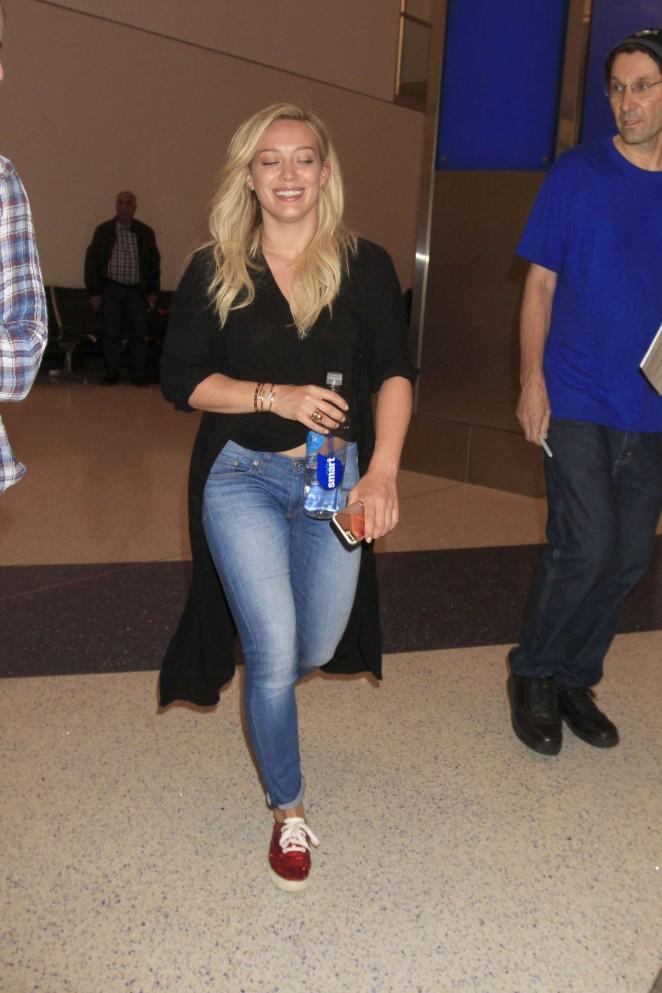 Hilary Duff in Tight Jeans at LAX in LA