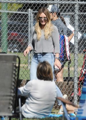 Hilary Duff - Attends her son's little league game with Mike Comrie in LA